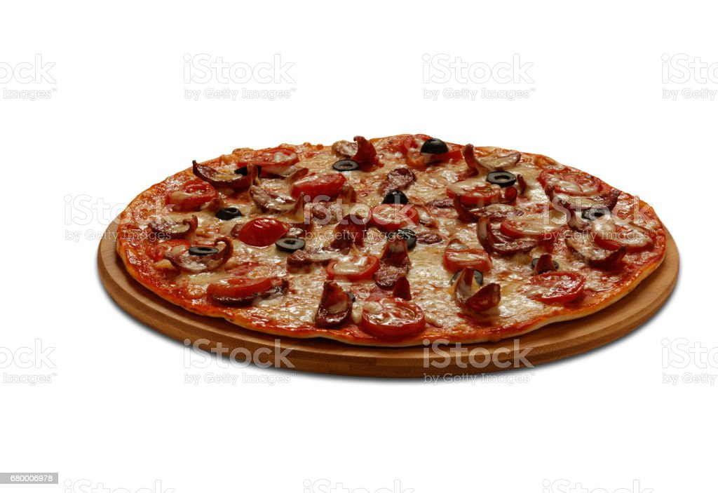 Pizza Hunter with sausage stock photo