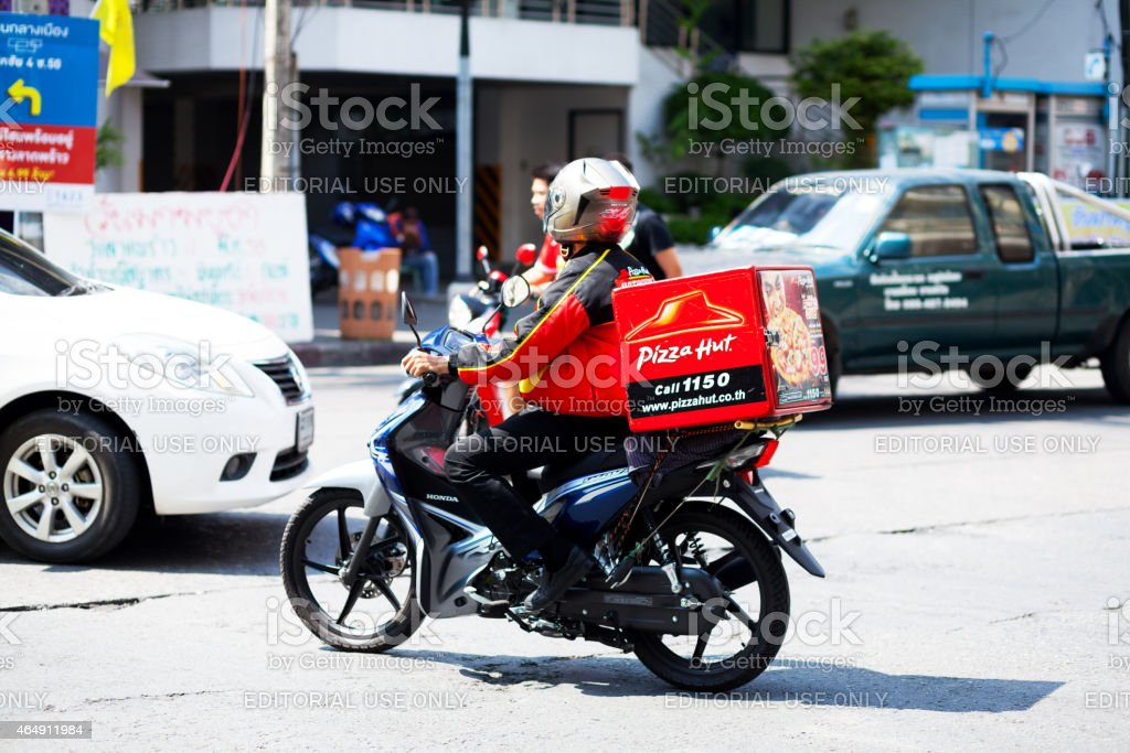 Pizza hut motorcycle taxi stock photo