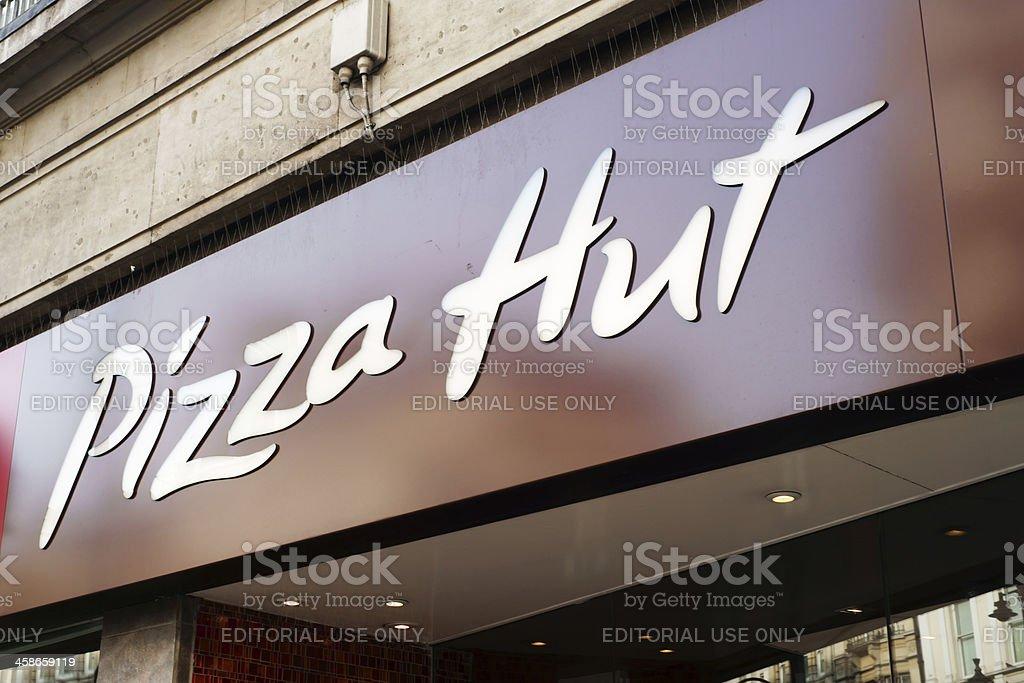 Pizza Hut restaurant sign in London stock photo