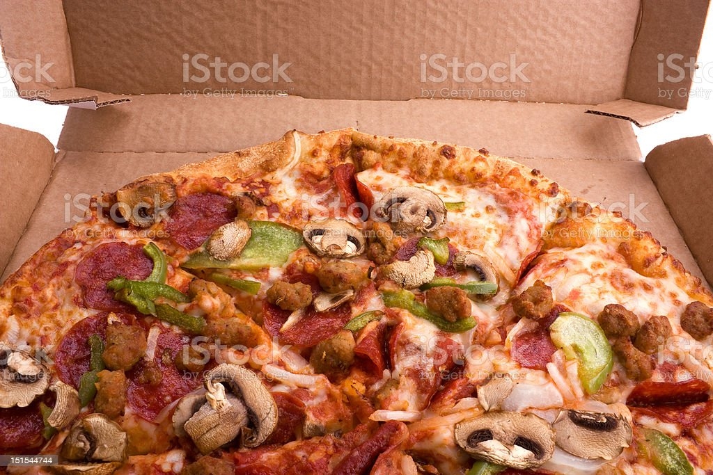 Pizza in a box royalty-free stock photo