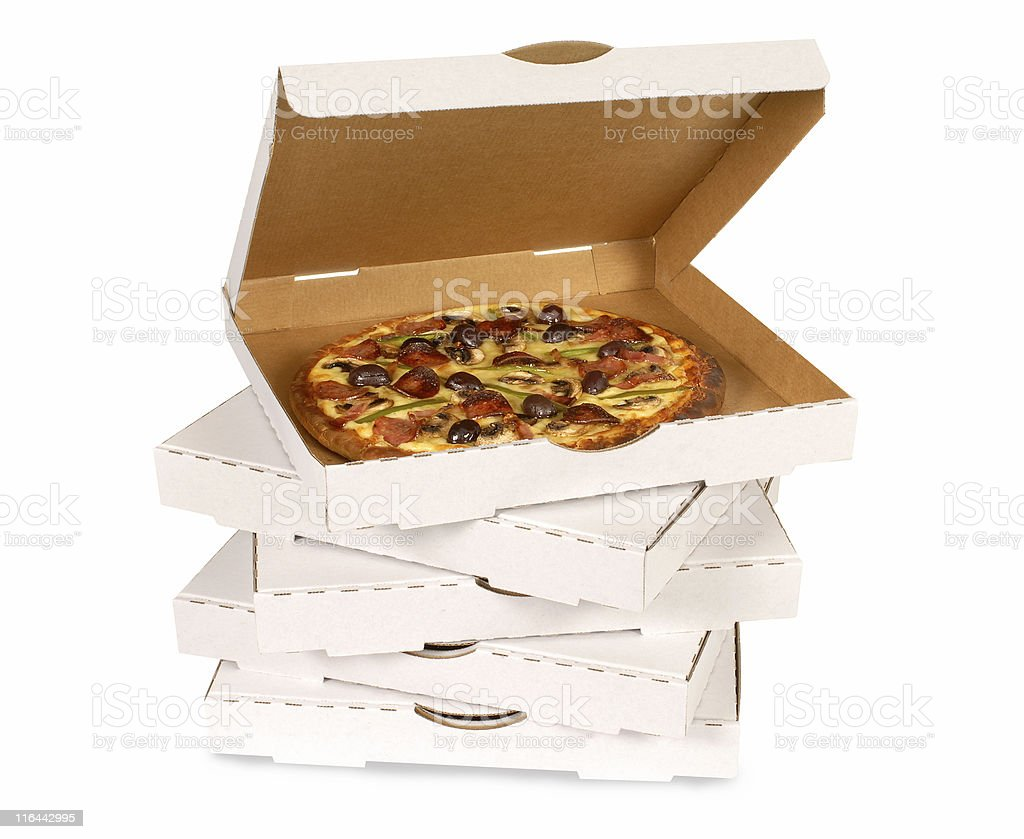 Pizza in plain white box stock photo