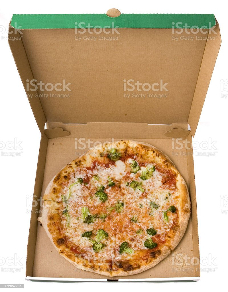 Pizza in the box with clipping path stock photo