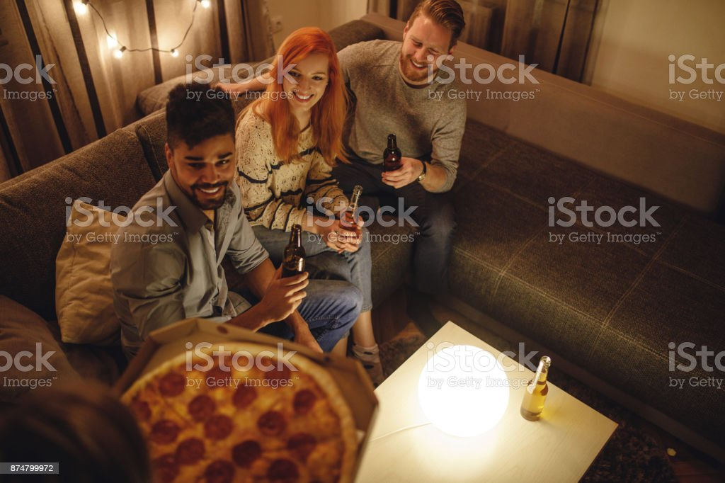 Pizza is here ! stock photo
