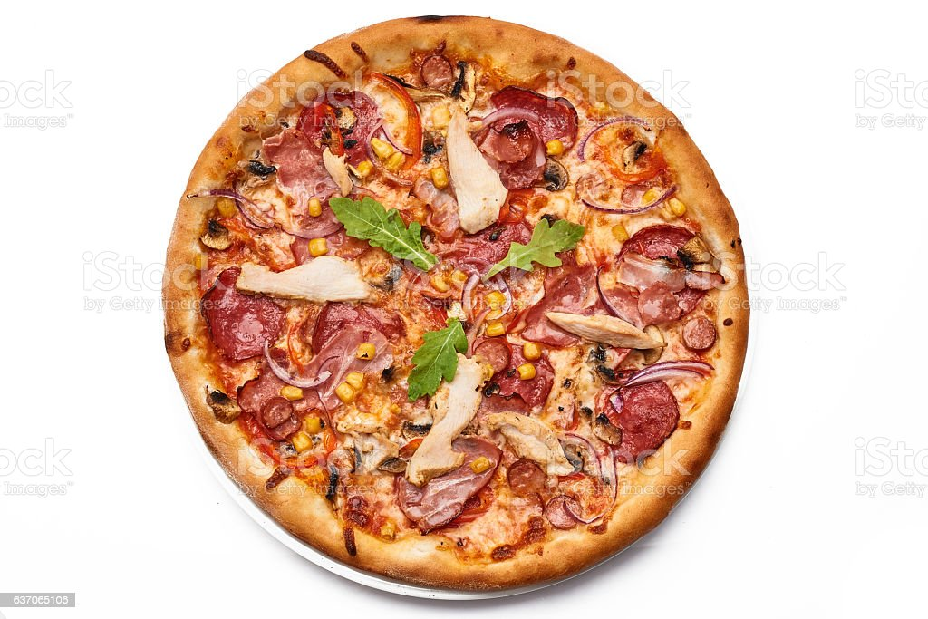 pizza isolated on whitw stock photo