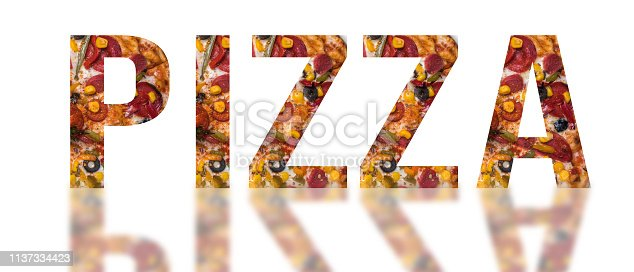 Pizza letters with traditional pizza inside
