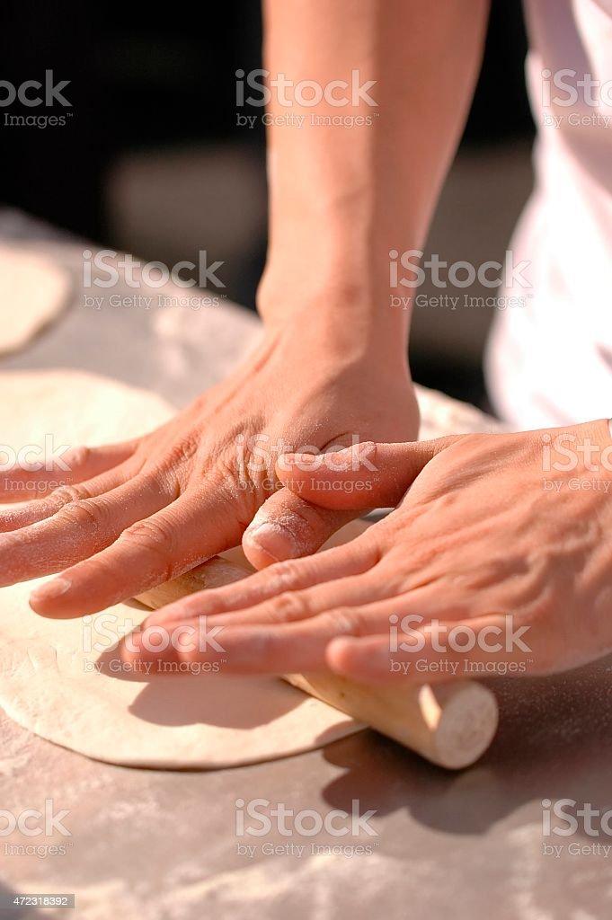 Pizza making stock photo