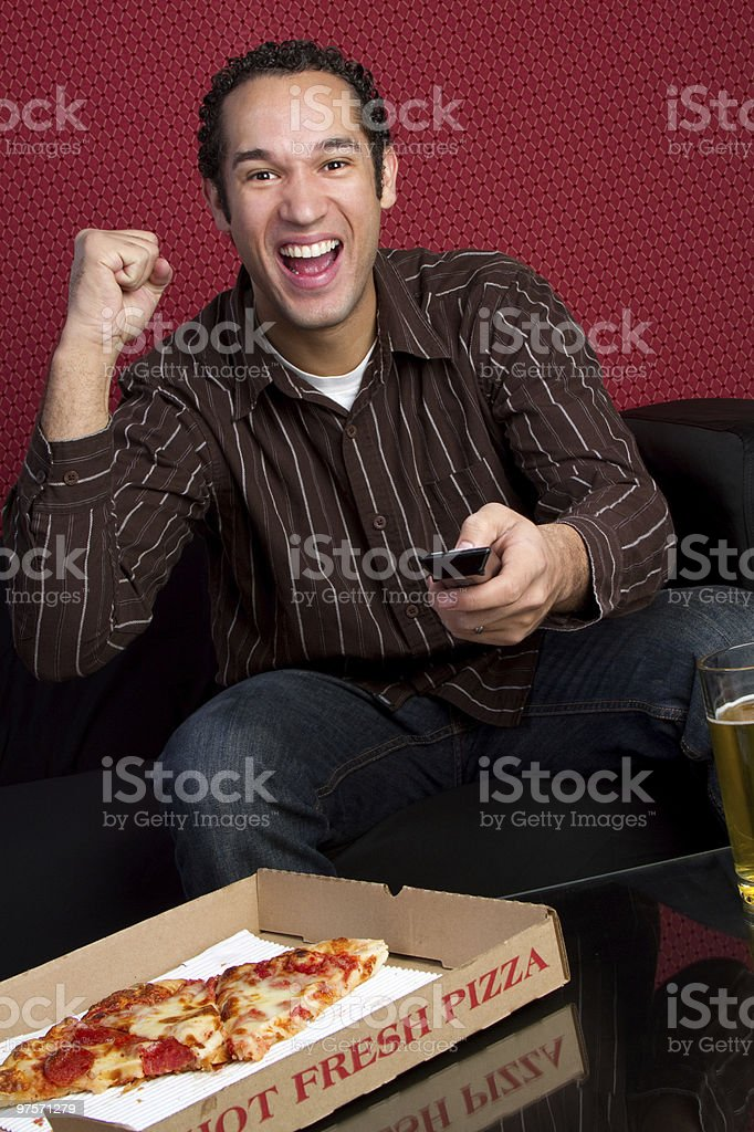 Pizza Man Cheering royalty-free stock photo