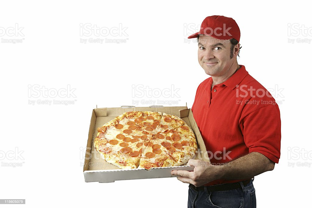 Pizza Man Delivers stock photo