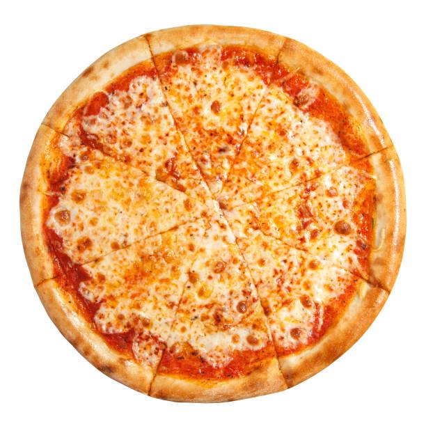 pizza margarita mit käse top view isoliert auf weißem hintergrund - weißer hintergrund stock-fotos und bilder