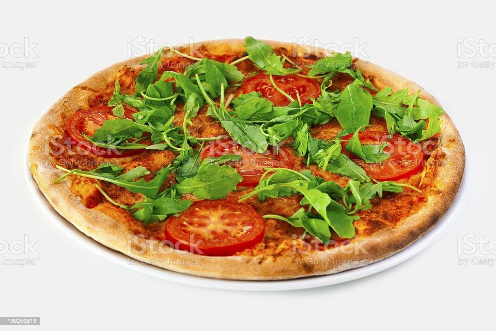 Pizza Margharita with arugula royalty-free stock photo