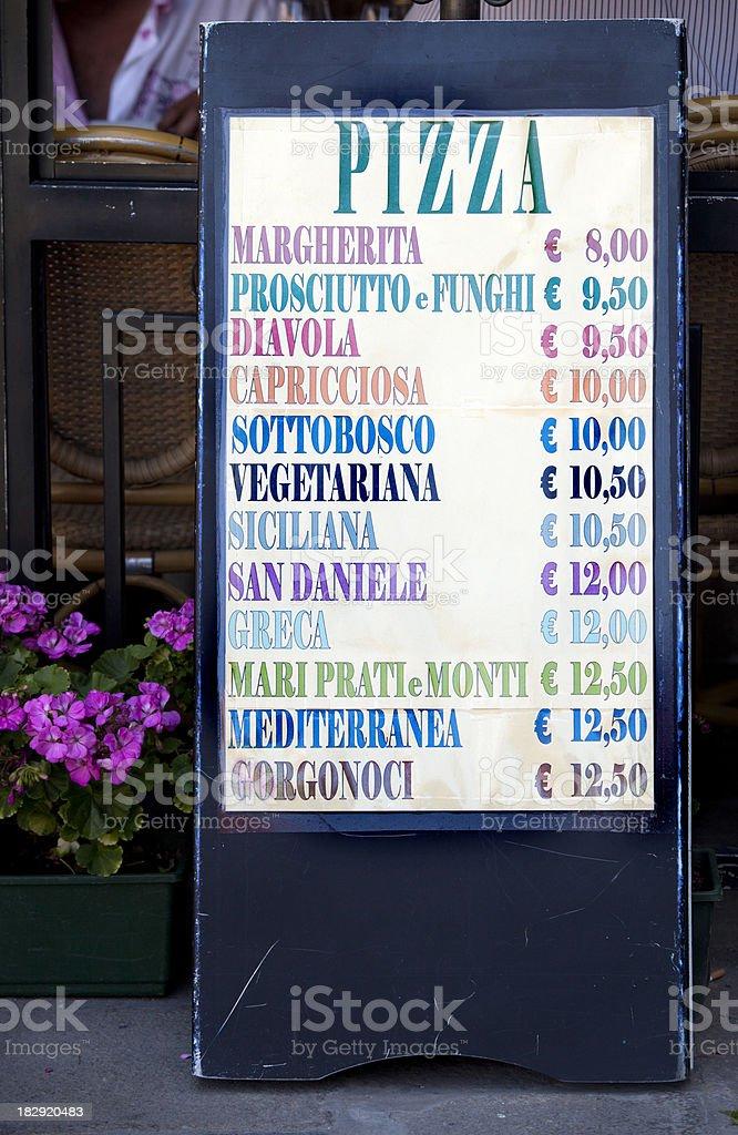 Pizza Menu in Venice Italy royalty-free stock photo