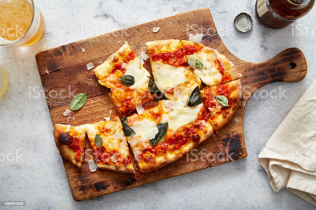 Pizza Neopolitan and Beer Aerial stock photo