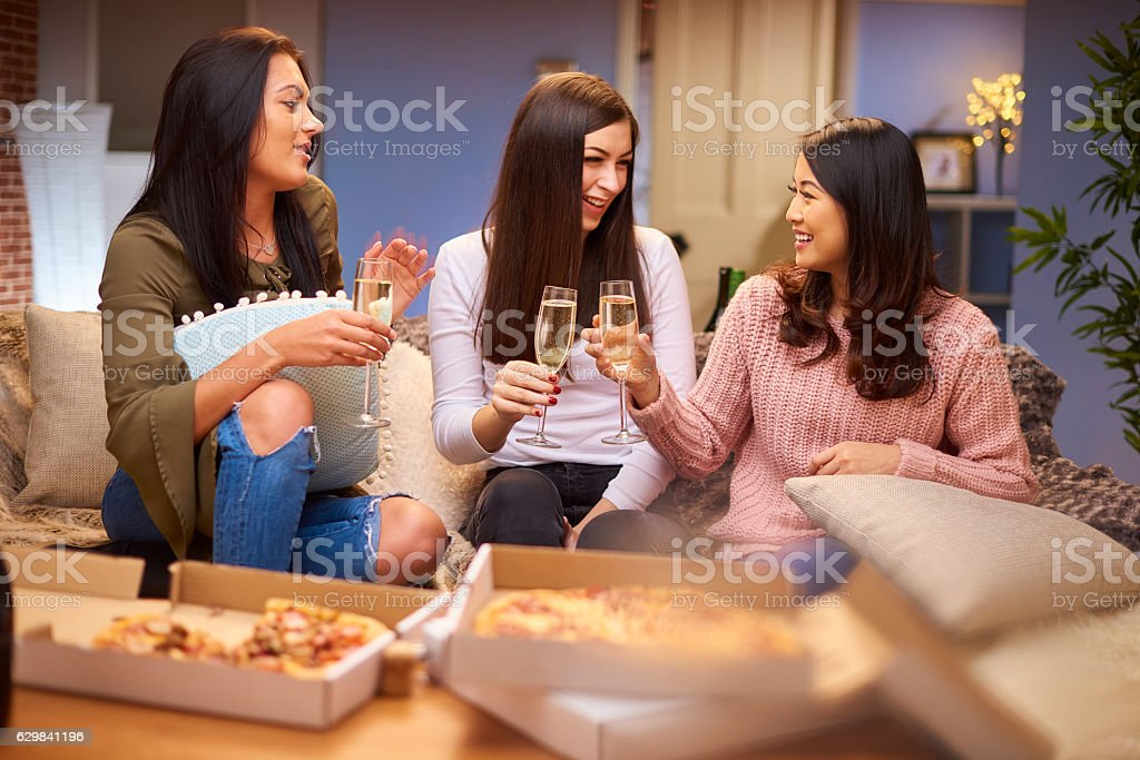pizza night with the girls stock photo