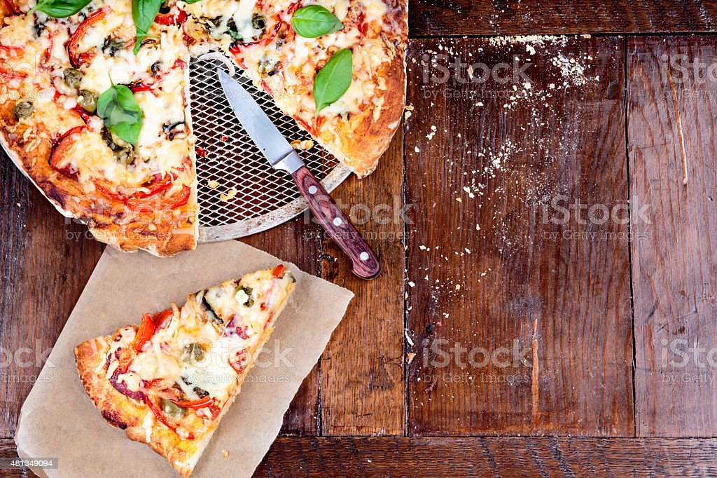 Pizza on a table stock photo
