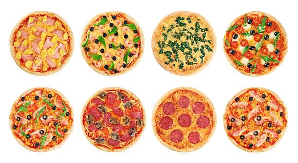 Pizza sur fond blanc. Collection. - Photo