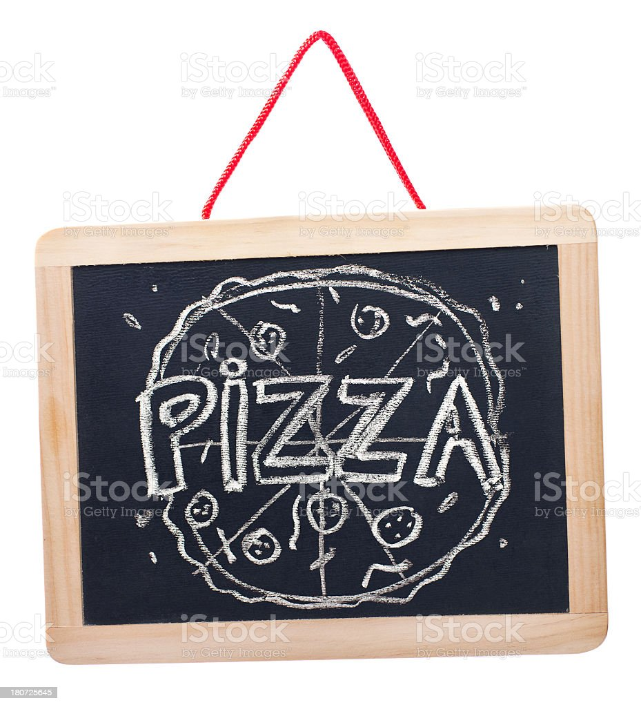 Pizza on blackboard royalty-free stock photo