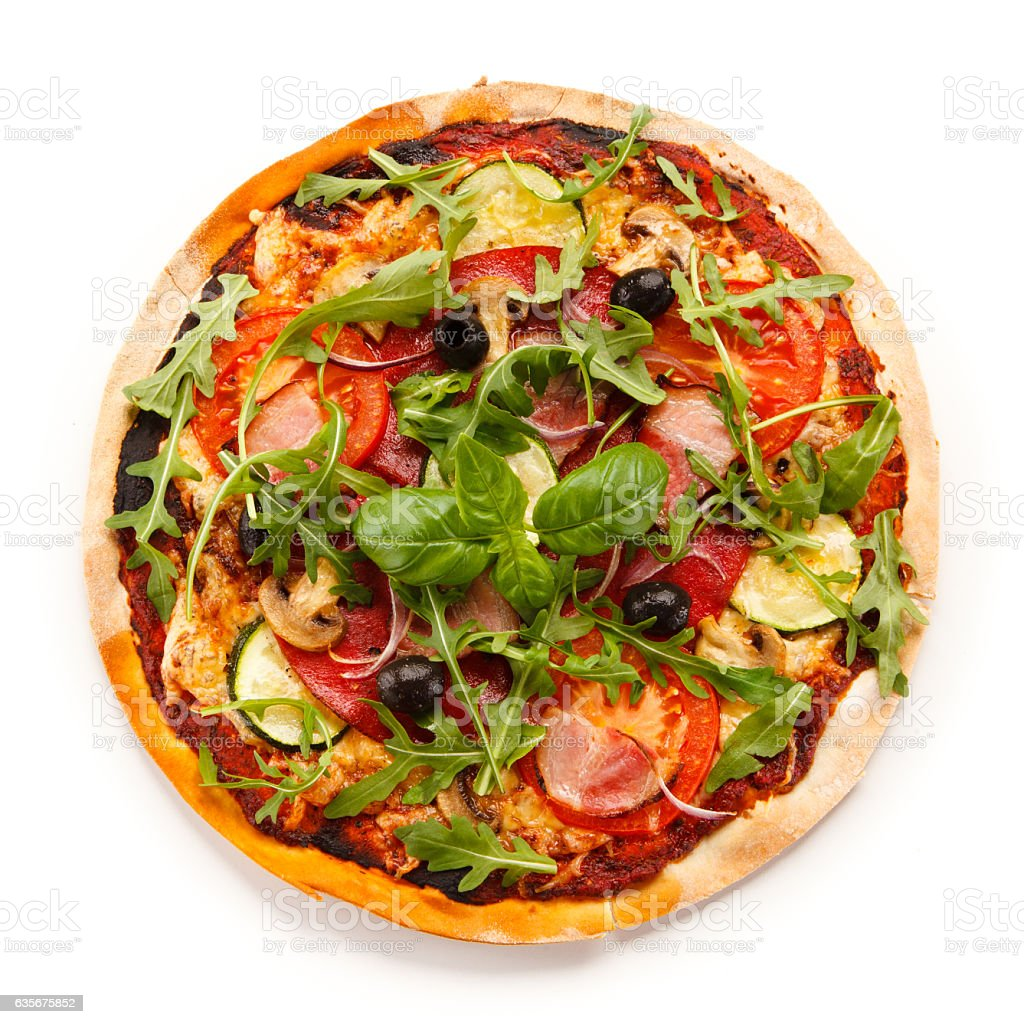 Pizza on white background stock photo