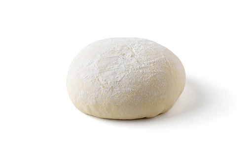 Pizza or Bread Dough Proofing and Rising on White Background with Clipping Path