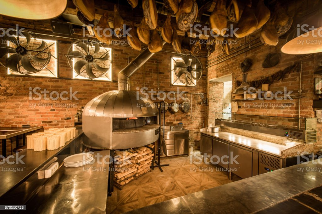 pizza oven in open kitchen italian restaurant stock photo more