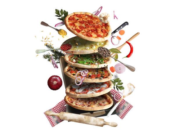 pizza - käse wurst salat stock-fotos und bilder