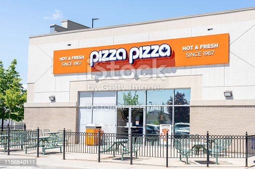 Toronto, Canada - June 03, 2019: A Pizza Pizza restaurant in Toronto, a franchised Canadian pizza quick-service restaurant.