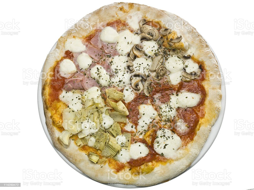 Pizza Quattro Stagioni royalty-free stock photo