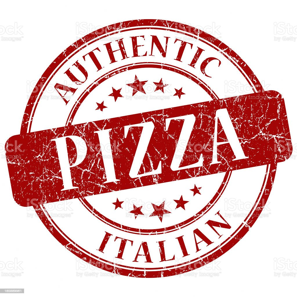 pizza red round stamp royalty-free stock photo
