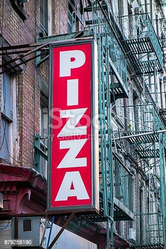 Pizza restaurant sign in New York City