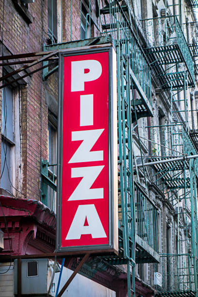 Pizza restaurant sign in New York City stock photo