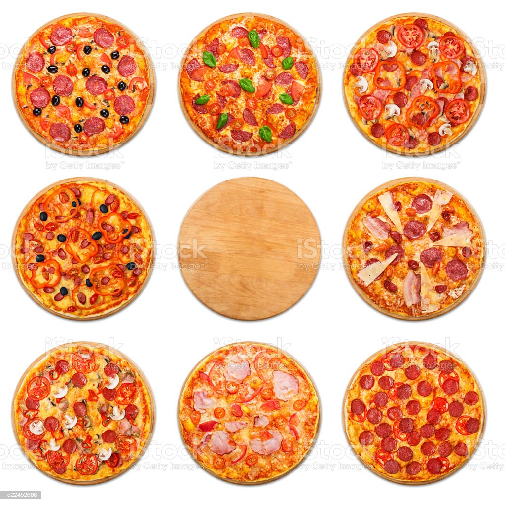 Pizza set with wooden desk copyspace isolated stock photo