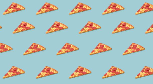 pizza slice 3D objects pattern on gray background stock photo