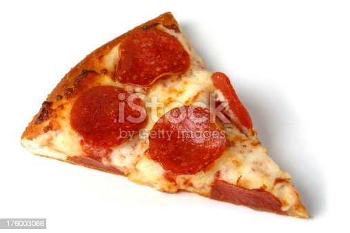 A slice of pepperoni pizza isolated on a white background
