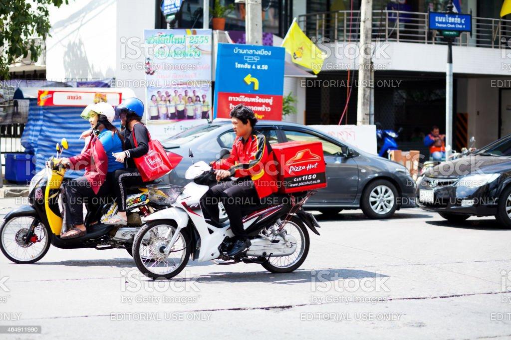Pizza taxi express stock photo