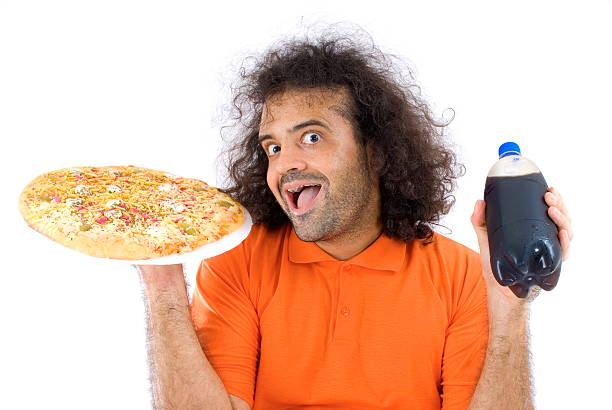 pizza time - nerd boy eating stock photos and pictures