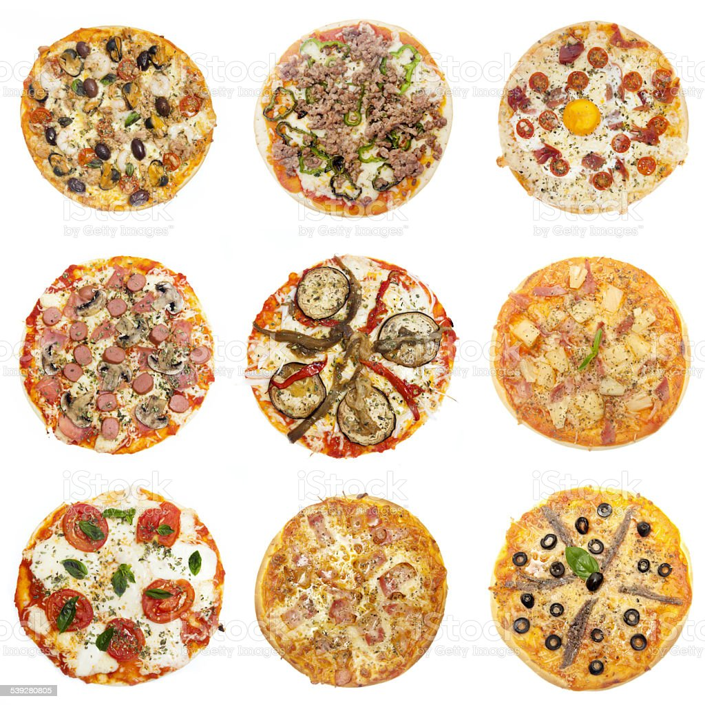 Pizza variation, different kinfçds of stock photo