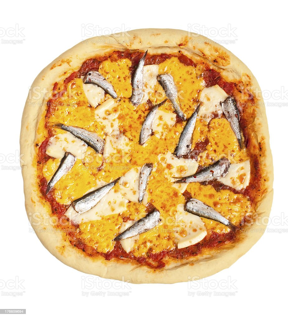 pizza with anchovies and cheese stock photo