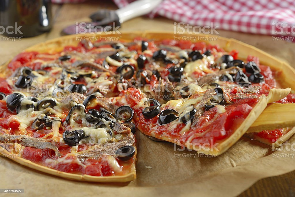 Pizza with anchovies stock photo