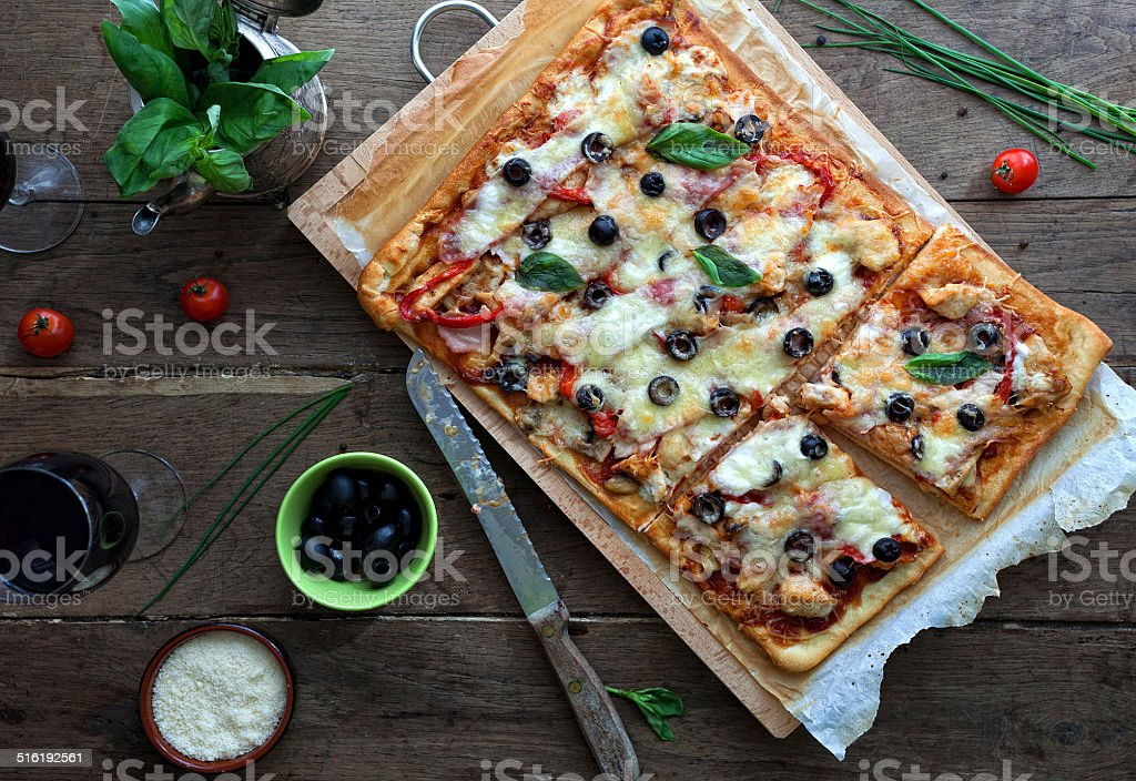 Pizza with bbq sauce stock photo