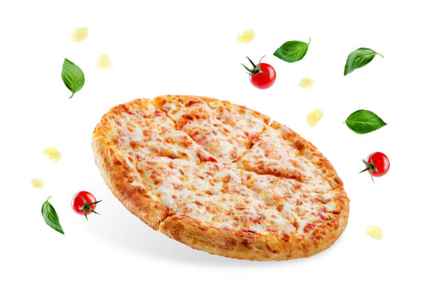 Pizza with cheese and tomato sauce isolated stock photo
