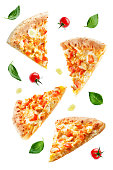 Pizza with cheese, chicken and fresh tomato slices isolated