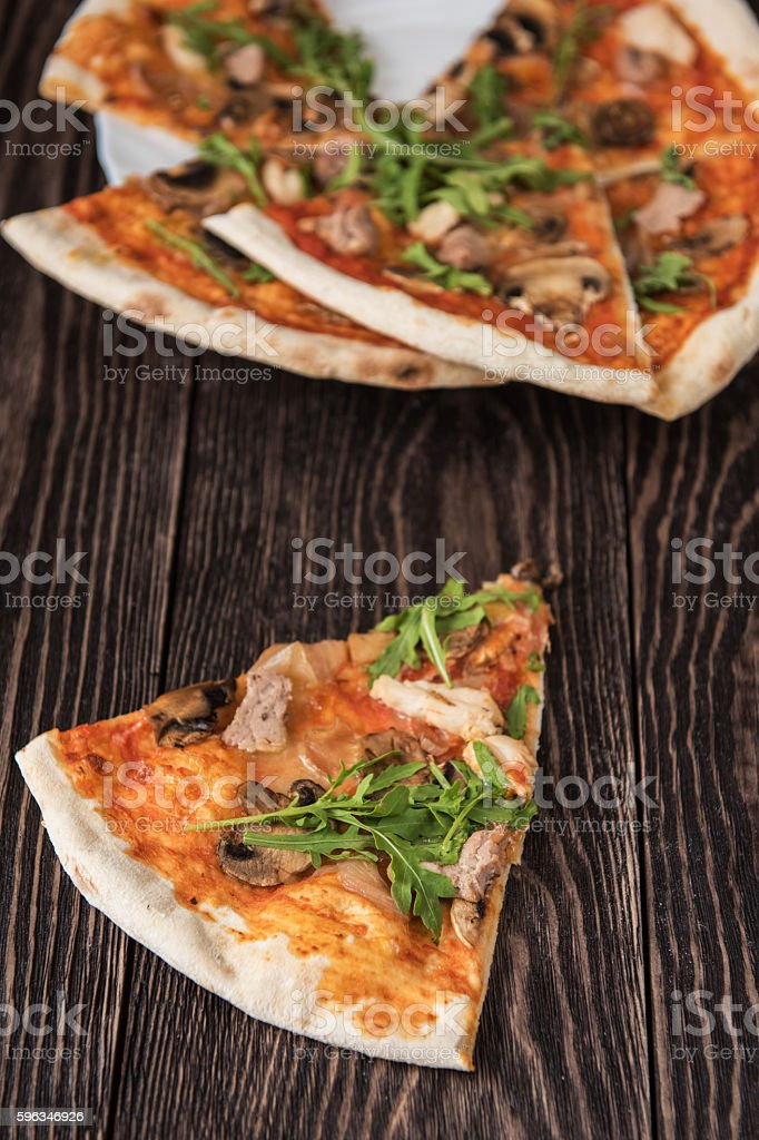 Pizza with chicken and mushrooms royalty-free stock photo