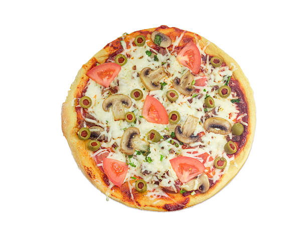 pizza with chicken, mushrooms, tomatoes and olives on light back - gebackene champignons stock-fotos und bilder