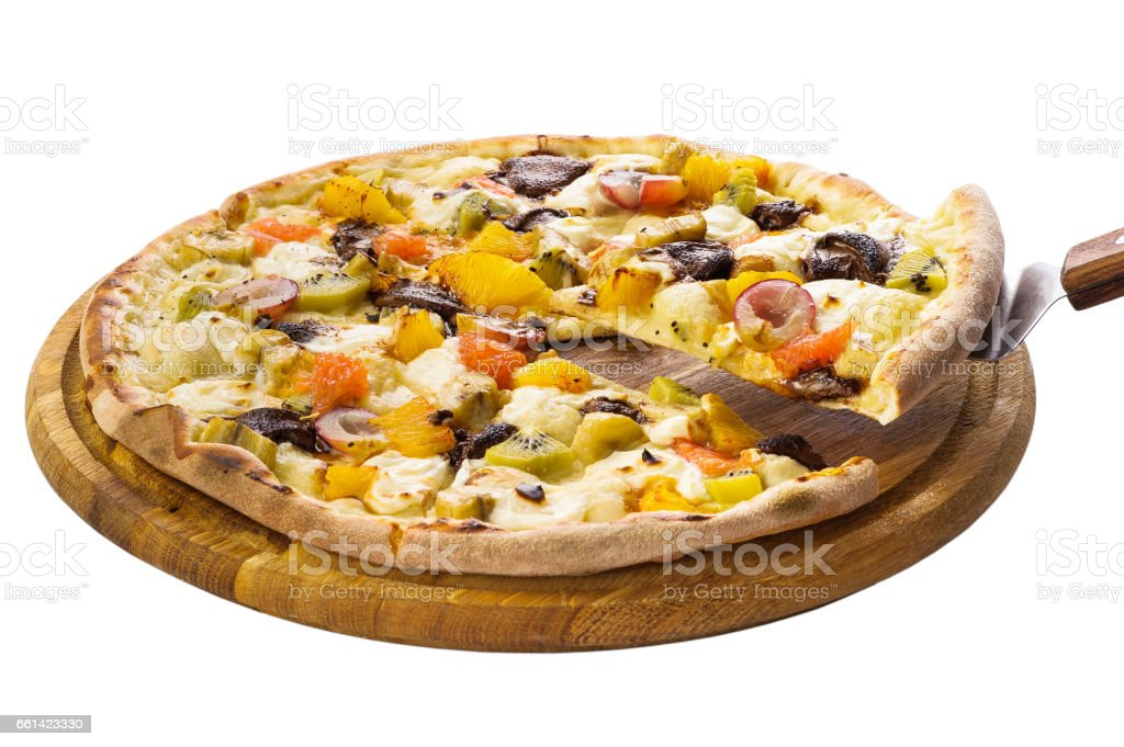 Pizza with fruit filling stock photo