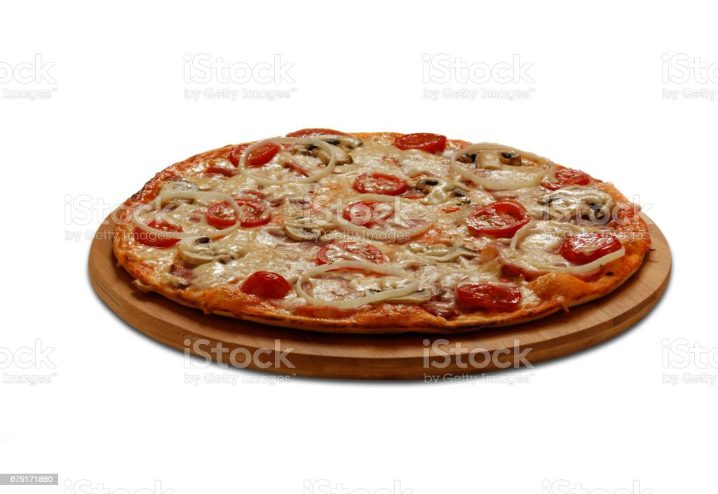 Pizza with ham and bacon stock photo