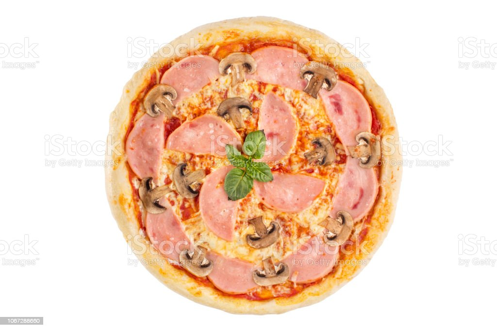 Pizza with ham and mushrooms on a white background. View from above. stock photo