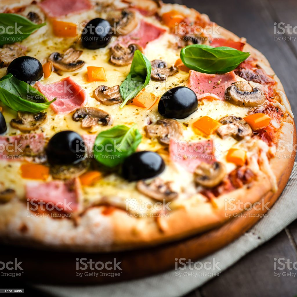 Pizza with Ham and Mushrooms stock photo
