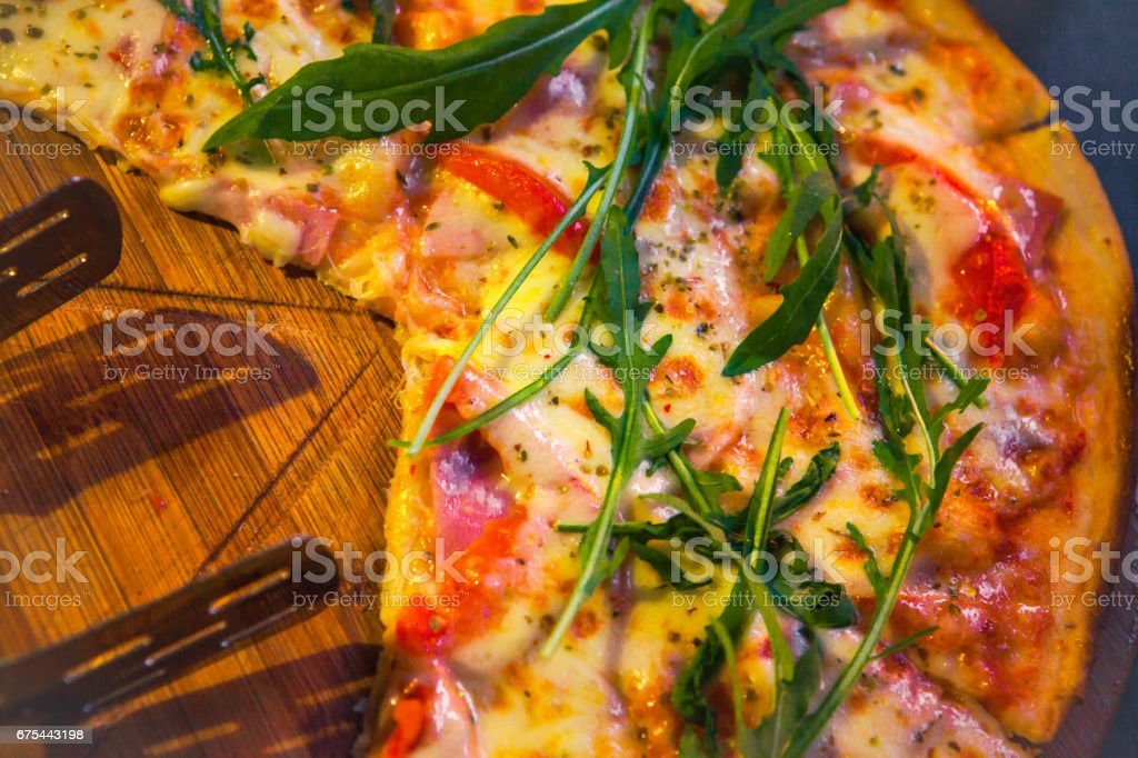Pizza with ham, corn and pepper royalty-free stock photo