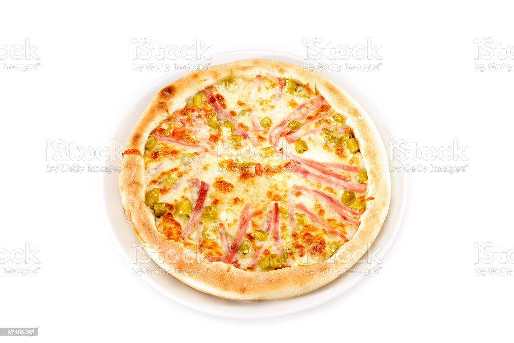 Pizza with ham, pepper and mozzarella cheese royalty-free stock photo
