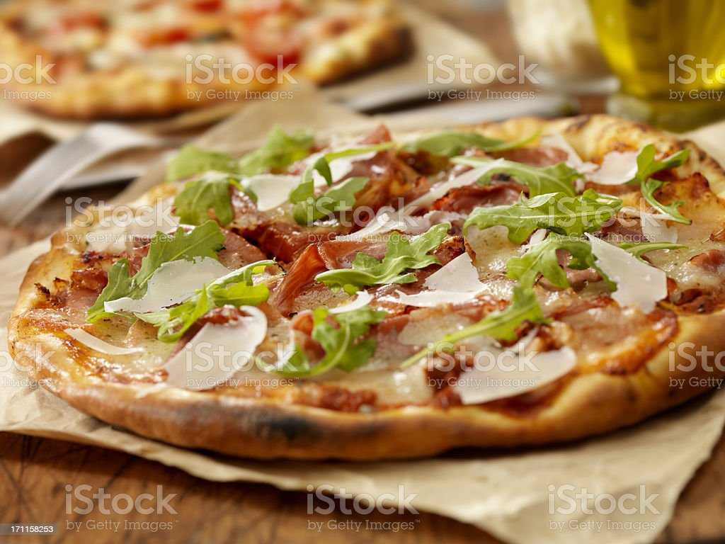 Pizza al Prosciutto stock photo