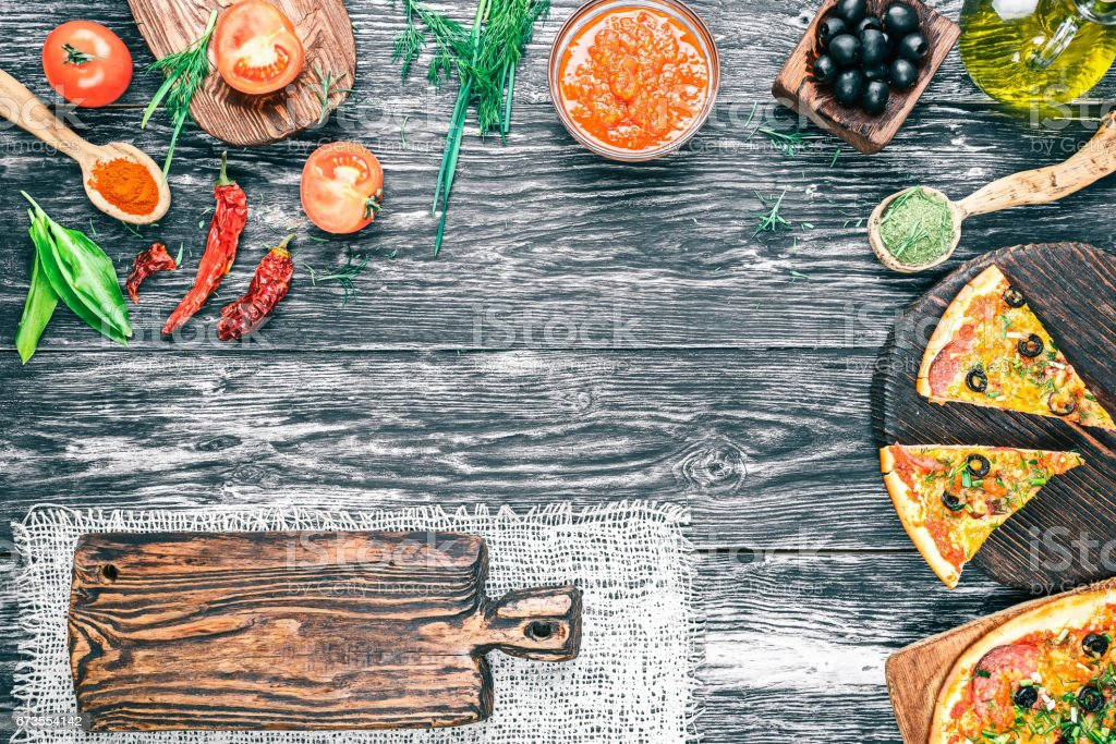 Pizza with ingredients royalty-free stock photo